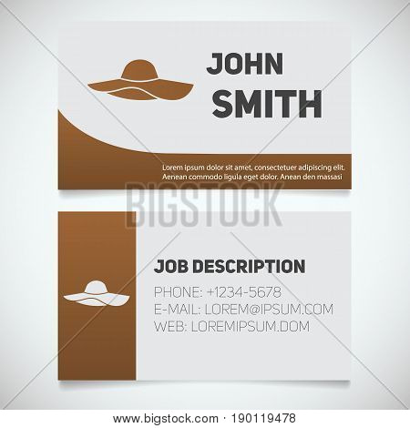 Business card print template with beach hat logo. Women's attire hats shop. Stationery design concept. Vector illustration