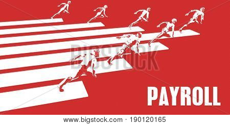 Payroll with Business People Running in a Path 3D Illustration Render