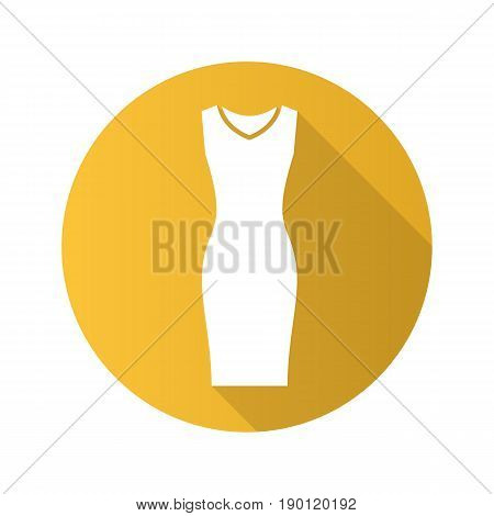 Evening dress flat design long shadow icon. Women's sleeveless gown. Vector silhouette symbol