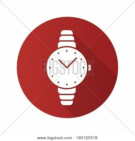 Women's wristwatch flat design long shadow icon. Vector silhouette symbol
