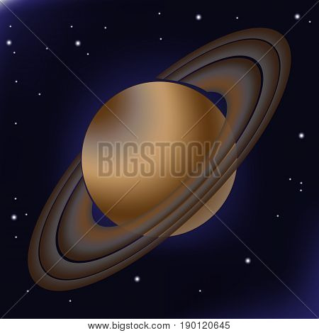 Saturn with its orbital rings. This planet of the solar system is depicted against a background of deep space where stars are shining in the distance