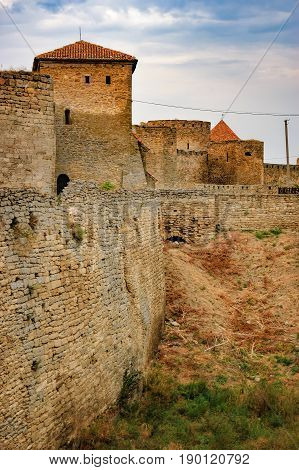 Walls of Fortress Akkerman in Bilhorod-Dnistrovskyi, Ukraine. Around the castle is drained the moat which had previously been water.