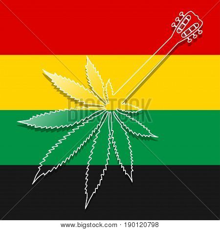 Illustration guitar as marijuana as a symbol of reggae music.