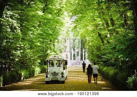 touristic train in white making a tour in the park. People walking and strolling under fresh trees