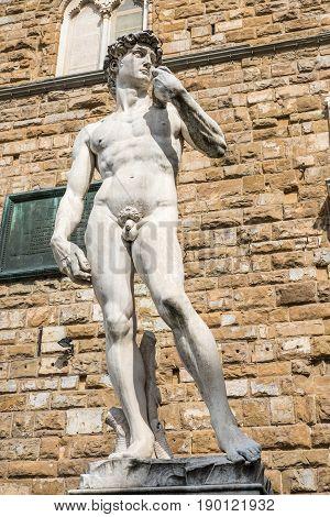 The replica of David statue by Michelangelo on the Piazza della Signoria in Florence Italy poster
