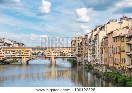 Ponte Vecchio Bridge over Arno river in Florence Italy
