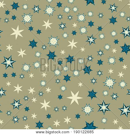 Seamless texture with stylized flowers and stars.