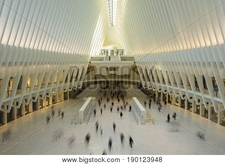NEW YORK CITY - MAY 17 , 2017: inside Santiago Calatrava's Oculus transportation hub that replaces the PATH train station which was destroyed during the 9/11 terrorist attacks.
