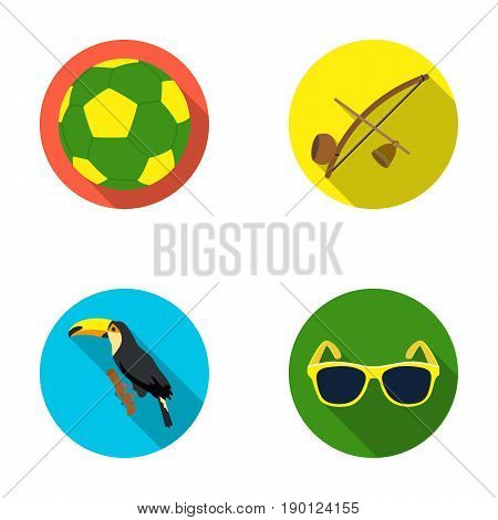 Brazil, country, ball, football . Brazil country set collection icons in flat style vector symbol stock illustration .