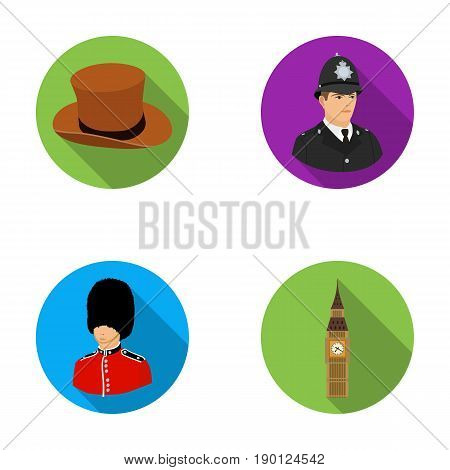 England, gentleman, hat, officer .England country set collection icons in flat style vector symbol stock illustration .