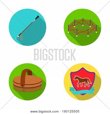 Aviary, whip, emblem, hippodrome .Hippodrome and horse set collection icons in flat style vector symbol stock illustration . poster