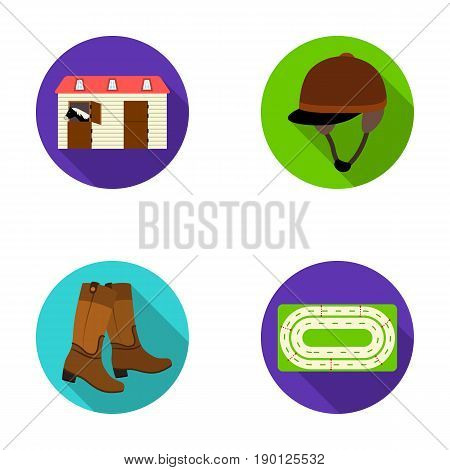 Boots, grass, stadium, track, rest .Hippodrome and horse set collection icons in flat style vector symbol stock illustration .