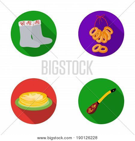 Felt, boots, drying, gingerbread .Russia country set collection icons in flat style vector symbol stock illustration .