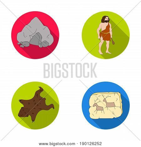 Ancient, world, stone age .Stone age set collection icons in flat style vector symbol stock illustration .