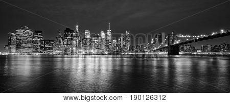 Black And White Panoramic Photo Of Manhattan At Night, Nyc.