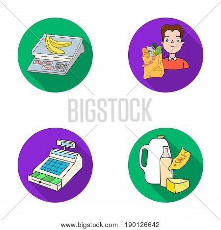 Package, scales, banana, fruit .Supermarket set collection icons in flat style vector symbol stock illustration .