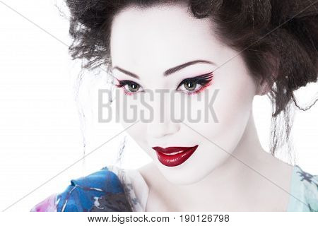 Young Woman With Classic Japan Style Makeup