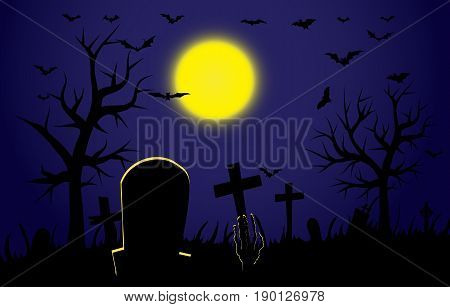 Cemetery during Halloween. Hand zombie breaks with mohylnlyi earth. Cemetery during the full moon. The mystical power of Halloween.