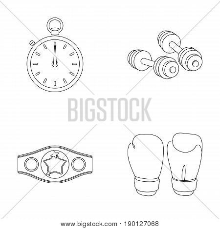 Boxing, sport, stopwatch, watch .Boxing set collection icons in outline style vector symbol stock illustration .