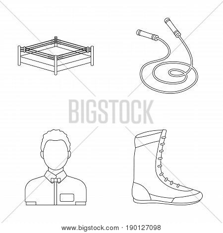 Ring, rope, referee, sneakers .Boxing set collection icons in outline style vector symbol stock illustration .