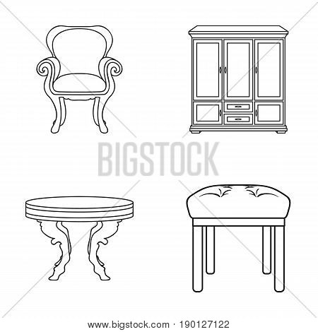 Furniture, interior, design, chair .Furniture and home interiorset collection icons in outline style vector symbol stock illustration .