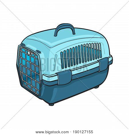 Plastic pet travel carrier for transporting cats, dogs, sketch style vector illustration isolated on white background. Hand drawn blue plastic pet carrier, transport, housing on white background