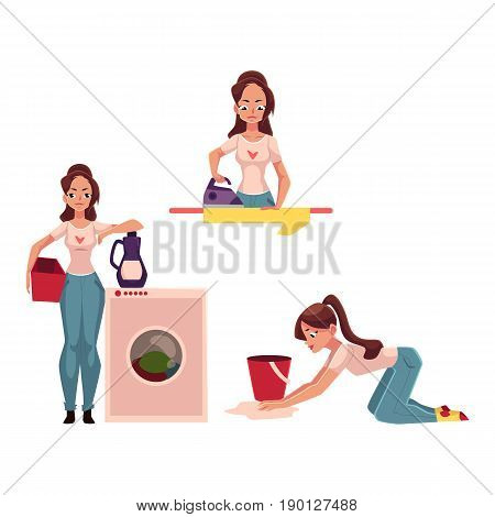 Young woman, housewife doing chores - ironing, washing, vacuum cleaning, mopping floors, cartoon vector illustration isolated on white background. Woman, girl cleaning her house, washing, ironing