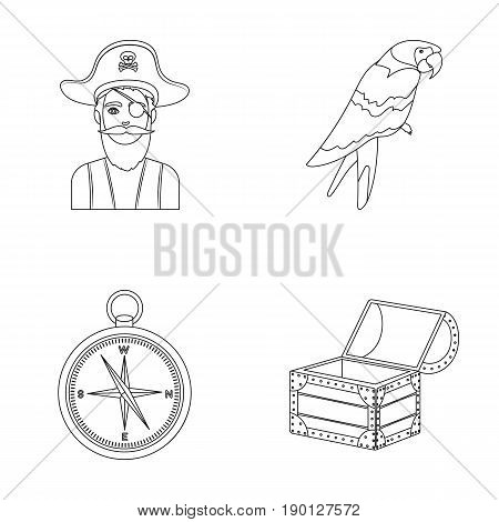 Pirate, bandit, hat, bandage .Pirates set collection icons in outline style vector symbol stock illustration .