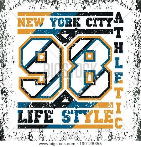 T-shirt New York atletics Typography Fashion college sport design the logo the number of floral patterns graphic print image design fashion Typography original design clothing