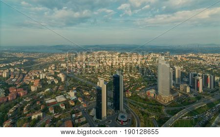 Istanbul, Turkey - April 23, 2017: City view from Istanbul Sapphire skyscraper overlooking the Bosphorus before sunset