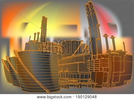 oil industry background piping as found inside of a modern industrial power plant
