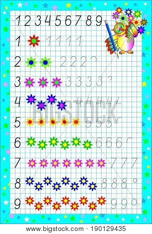 Page with exercises for children on a square paper. Developing skills for writing and counting. Vector image.