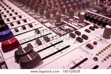Stock image close up of PA mixer console