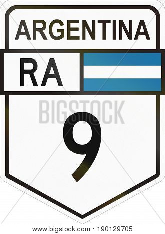 Route Sign Of The Argentinian National Route 9