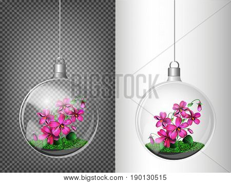 A Transparent Ball Of Glass With Violets Inside. Elements Of Christmas Decorations. Transparent Vect