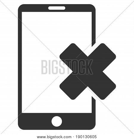 Wrong Smartphone vector icon. Flat gray symbol. Pictogram is isolated on a white background. Designed for web and software interfaces.