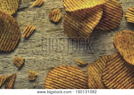Beautiful solar corrugated chips on a wooden table.