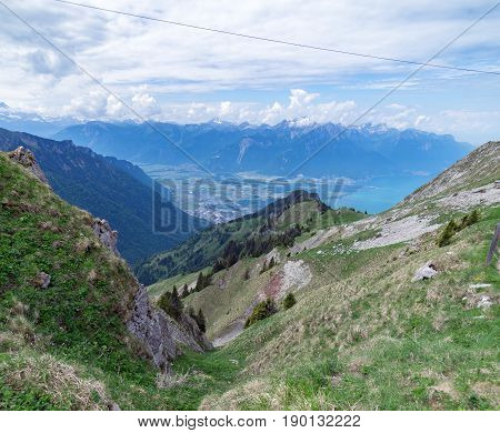 View from Rocher de Naye, Switzerland, towards Lake Leman.