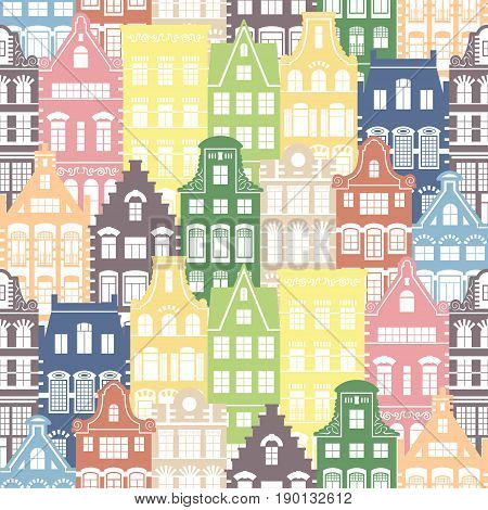 Seamless shapes pattern of Holland old houses facades. Traditional architecture of Netherlands. Colorful illustration in the Dutch style.