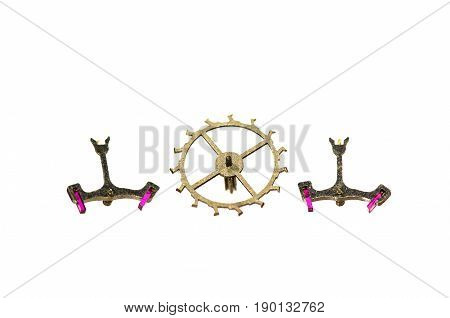 Watch Parts: Two Vintage Metallic Pallet Forks and Escape Wheel on White Background