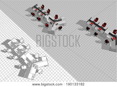 open plan office. group of office furniture