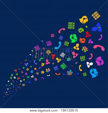 Source stream of call center symbols. Vector illustration style is flat bright multicolored call center symbols iconic symbols on a blue background. Object source created from scattered pictographs.