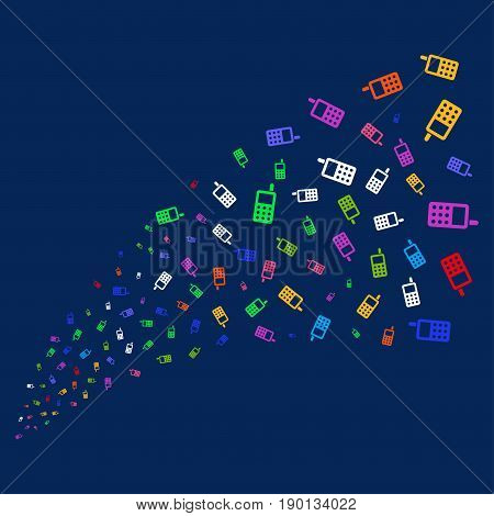 Source stream of cell phone symbols. Vector illustration style is flat bright multicolored cell phone iconic symbols on a blue background. Object stream combined from confetti pictograms.