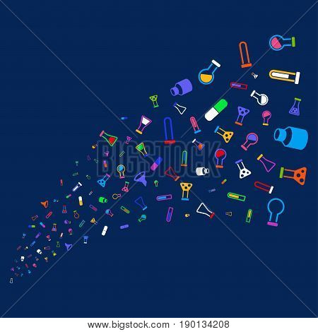 Source stream of chemistry tubes icons. Vector illustration style is flat bright multicolored chemistry tubes iconic symbols on a blue background. Object stream made from confetti design elements.