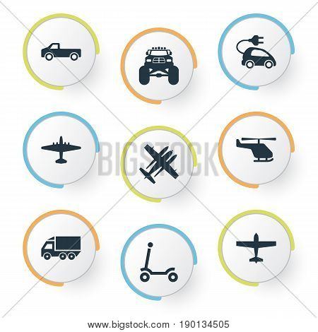Vector Illustration Set Of Simple Transport Icons. Elements Airliner, Chopper, Aero And Other Synonyms Van, Jeep And Scooter.