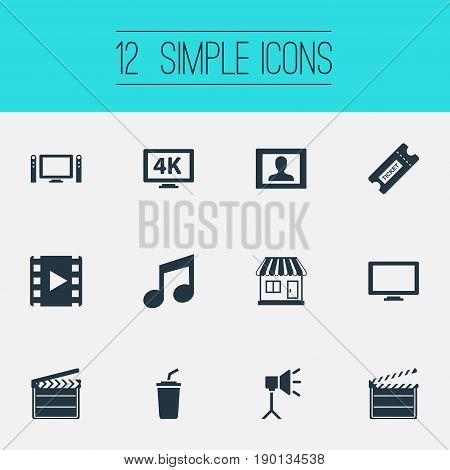 Vector Illustration Set Of Simple Film Icons. Elements Action, Studio Ligtning, Home Cinema And Other Synonyms Display, Narrator And Layout.
