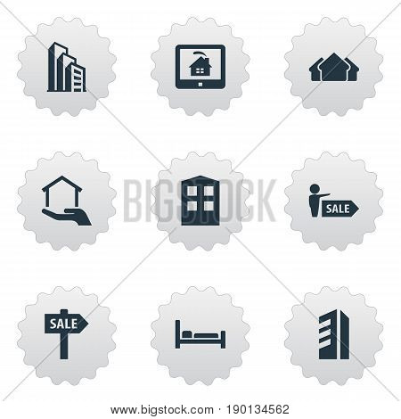 Vector Illustration Set Of Simple Real Icons. Elements Apartment, High-Rise, Real Estate Database And Other Synonyms Apartment, Residental And Sign.