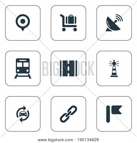 Vector Illustration Set Of Simple City Icons. Elements Banner, Radar, Beacon And Other Synonyms Pennant, Railway And Street.