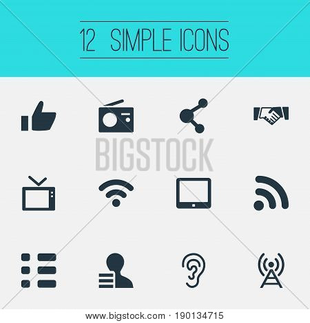 Vector Illustration Set Of Simple Communication Icons. Elements Listen, Wireless Access, Digital Pad And Other Synonyms Like, Resume And Ear.