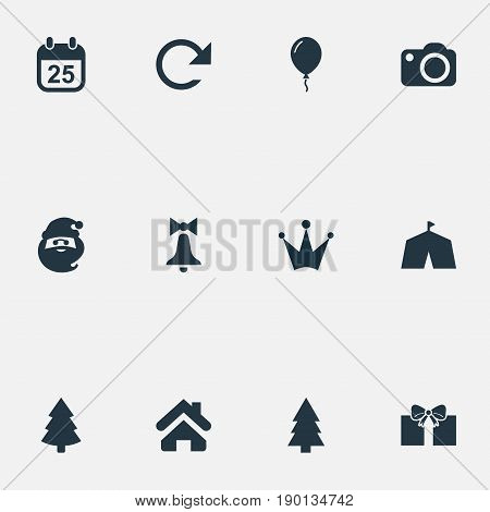 Vector Illustration Set Of Simple New Year Icons. Elements Christmas Character, Forest, Balloon And Other Synonyms Tent, Repeat And Circus.